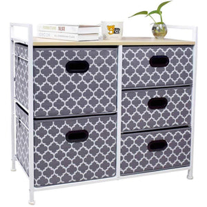 Top wide dresser storage tower 5 drawer chest sturdy steel frame wood top easy pull fabric bins organizer unit for bedroom playroom entryway closets lantern printing gray white