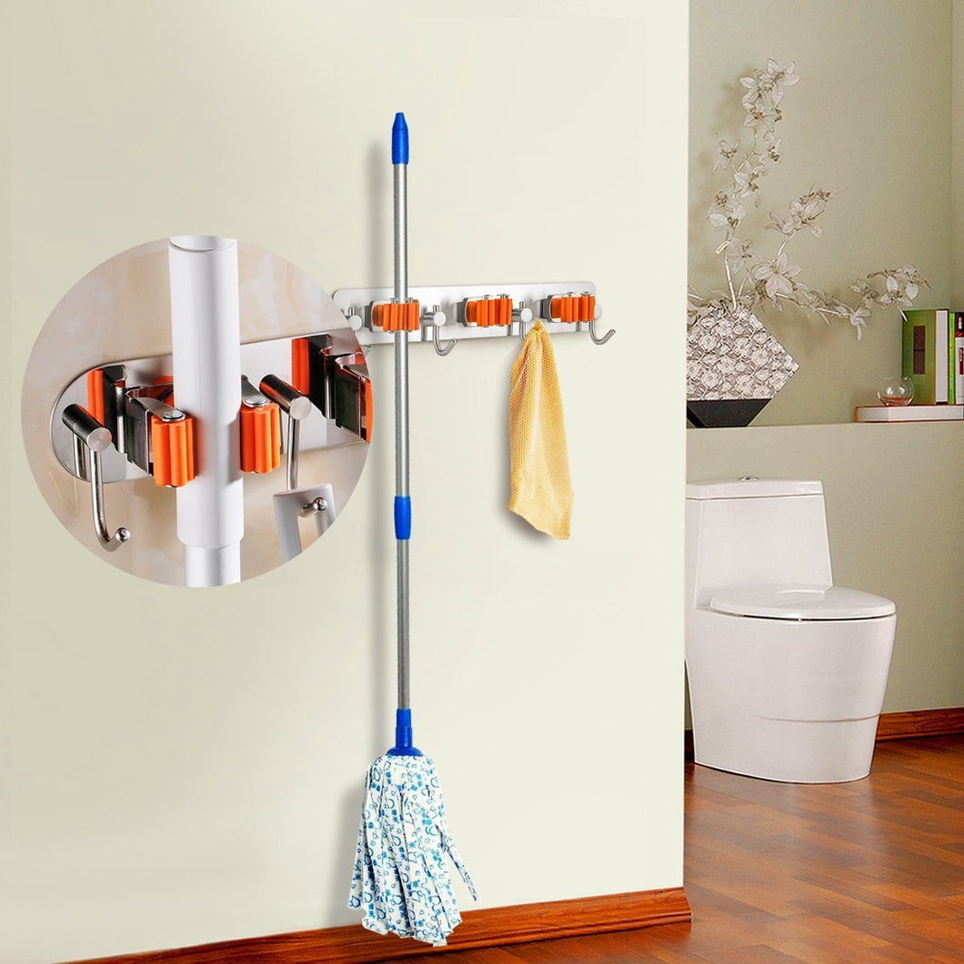 Bosszi Broom Holder Mop Holder Gardening Tools Organizer, SUS 304 Stainless Steel Brushed & Non-Slip Silicone Self-Adhesive Mounted Storage Racks with 3 Positions & 4 Hooks Holds Up to 7 Tools Firmly