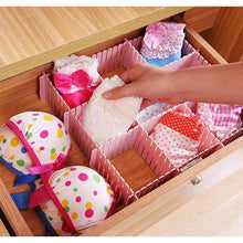 Load image into Gallery viewer, Kitchen newferu plastic desk diy grid drawer dividers adjustable tidy closet shelf storage organizers for purses ties tshirts pens bras sock underwear scarves makeup kitchen cutlery flatware 40pcs pink