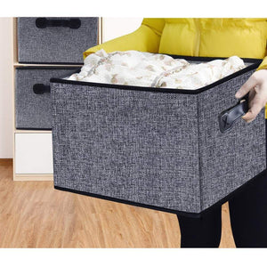 Explore homyfort cloth collapsible storage bins cubes 15 7x11 8x9 8 linen fabric basket box cubes containers organizer for closet shelves with leather handles set of 3 grey