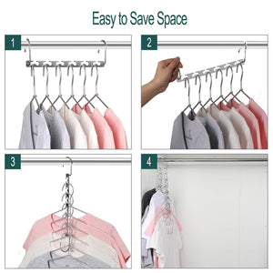 Buy now meetu space saving hangers wonder multifunctional clothes hangers stainless steel 6x2 slots magic hanger cascading hanger updated hook design closet organizer hanger pack of 10