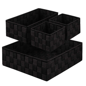 Budget friendly kedsum woven storage box cube basket bin container tote cube organizer divider for drawer closet shelf dresser set of 4 black
