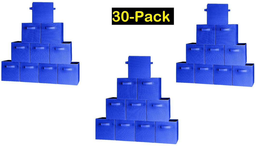 Storage 30 pack blue storage cubes with two handles shelves baskets bins containers home decorative closet organizer household fabric cloth collapsible box toys storages drawer blue 30 pack