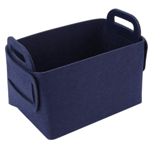 Online shopping storage basket felt storage bin collapsible convenient box organizer with carry handles for office bedroom closet babies nursery toys dvd laundry organizing