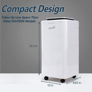 Discover ivation 11 pint small area compressor dehumidifier with continuous drain hose air purifier ionizer for smaller spaces bathroom attic crawlspace and closets for spaces up to 216 sq ft