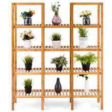 Load image into Gallery viewer, Heavy duty costway bamboo utility shelf bathroom rack plant display stand 5 tier storage organizer rack cube w several cell closet storage cabinet 12 pots