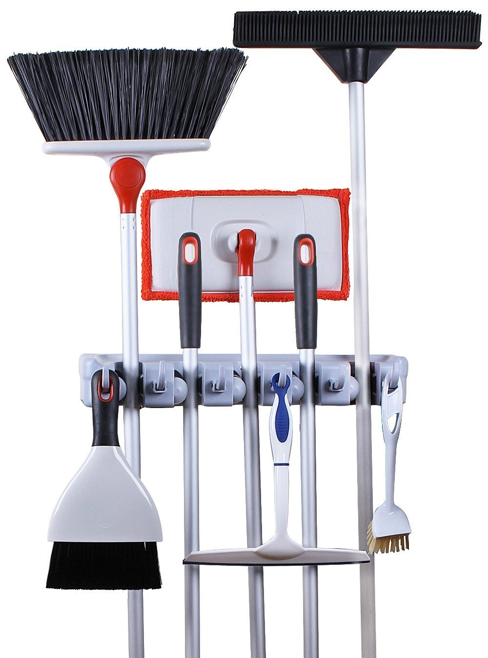 Order now greenco mop and broom organiser wall and closet mount organizer rack holds brooms mops rakes garden equipment tools and more contains 5 non slip automatically adjustable holders and 6 hooks