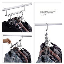 Load image into Gallery viewer, On amazon star fly magic hangers space saving hangers magical clothing hanger with hook stainless steel wonder closet organizer 10 pack