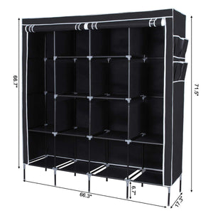 Products songmics 67 inch wardrobe armoire closet clothes storage rack 12 shelves 4 side pockets quick and easy to assemble black uryg44h