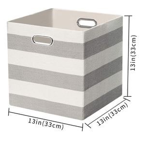 Online shopping posprica storage bins storage cubes 13 13 fabric storage boxes baskets containers drawers for nurseries offices closets home decor 4pcs grey white striped