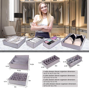 Select nice drawer organizer dresser drawer organizer divider washable large bra sock underwear tie cloth organizer foldable closet storage box drawer polyester fabric for baby cloth panties belts set of 4 gray