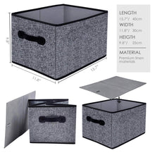 Load image into Gallery viewer, Discover the best homyfort cloth collapsible storage bins cubes 15 7x11 8x9 8 linen fabric basket box cubes containers organizer for closet shelves with leather handles set of 3 grey