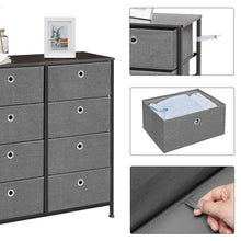 Load image into Gallery viewer, Products songmics 4 tier wide drawer dresser storage unit with 8 easy pull fabric drawers and metal frame wooden tabletop for closets nursery dorm room hallway 31 5 x 11 8 x 32 1 inches gray ults24g