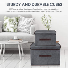 Load image into Gallery viewer, Heavy duty foldable storage boxes with lids 2 set of linen fabric cubes with handles for shelf closet book kid toy nursery organize grey