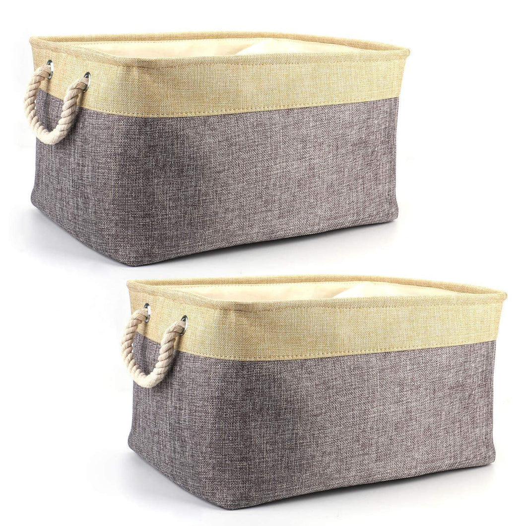 Amazon tosnail 2 pack linen storage baskets with drawstring cover top fabric storage bin organizer for home closet shelves cabinet storage