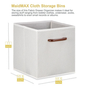 Cheap maidmax foldable storage cubes set of 6 decorative fabric storage bins containers organizers drawers with wood handles for shelves clothes closet kids bedroom gray polka dot