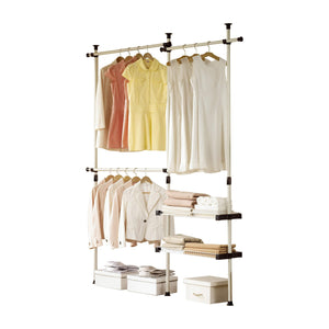 Top prince hanger double 2 tier hanger shelves clothing rack closet organizer heavy duty phus 0053