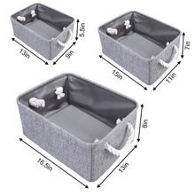 Load image into Gallery viewer, Selection kedsum fabric storage bins baskets foldable linen storage boxes with handles closet organizers bins cube storage baskets bins for shelves clothes closet nursery gray 3 pack