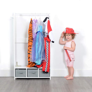 Budget milliard dress up storage kids costume organizer center open hanging armoire closet unit furniture for dramatic play with mirror baskets and hooks