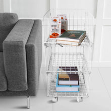 Load image into Gallery viewer, Featured pup joint metal wire baskets 3 tiers foldable stackable rolling baskets utility shelf unit storage organizer bin with wheels for kitchen pantry closets bedrooms bathrooms