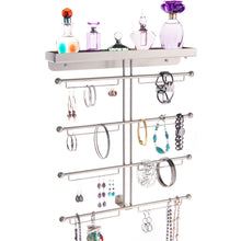Load image into Gallery viewer, Amazon best angelynns bracelet display wall mount jewelry organizer earring holder necklace rack closet storage shelf carol satin nickel silver