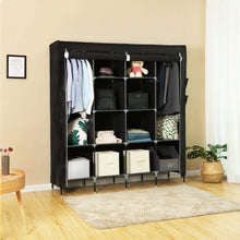 Load image into Gallery viewer, Save songmics 67 inch wardrobe armoire closet clothes storage rack 12 shelves 4 side pockets quick and easy to assemble black uryg44h