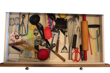 Load image into Gallery viewer, Discover the best bamboo adjustable drawer dividers by vees handy kitchen expandable organizers for kitchen bedroom bathroom closets dressers baby kids laundry office garage she shed arts and crafts junk drawers