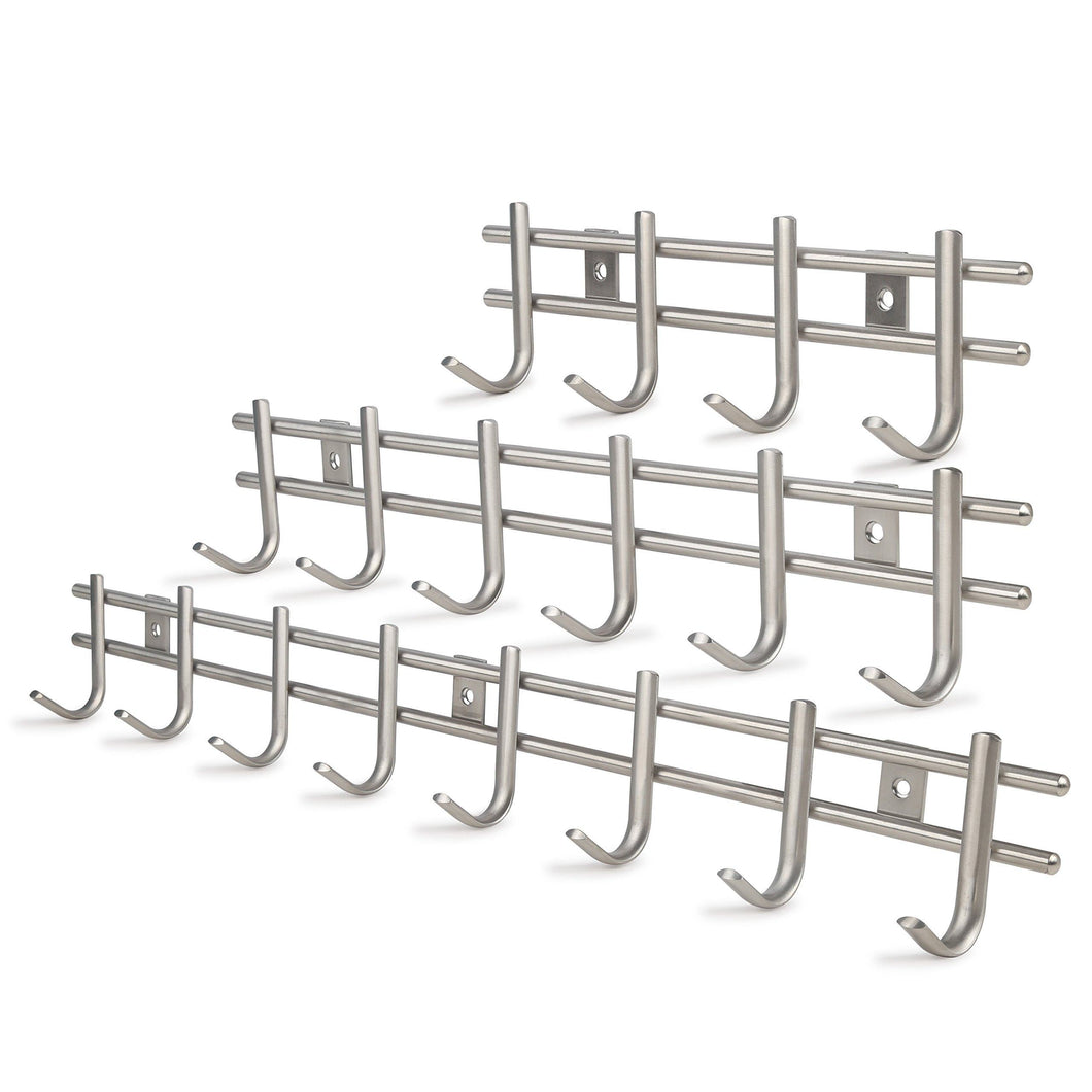 Exclusive webi wall mounted coat rack hooks heavy duty sus 304 wall hooks rack robe hooks metal decorative hook rail for bathroom kitchen office entryway hallway closet 8 hooks brushed finish 2 packs