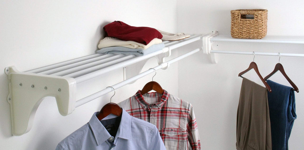 Shop ez shelf diy expandable closet kit 2 closet shelf rods units and 2 end brackets each unit 40 in to 74 in white