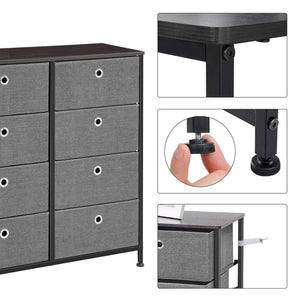 Organize with songmics 4 tier wide drawer dresser storage unit with 8 easy pull fabric drawers and metal frame wooden tabletop for closets nursery dorm room hallway 31 5 x 11 8 x 32 1 inches gray ults24g