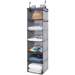 On amazon storageworks hanging closet organizer 6 shelf closet organizer 2 ways dorm closet organizers and storage sweater organizer for closet gray 12x12x42 inches