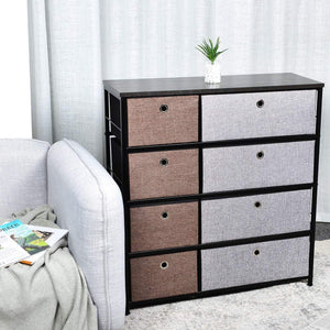 Selection extra wide fabric storage organizer mixed colors clothes drawer dresser with sturdy steel frame wooden tabletop easy pull fabric bins organizer unit for bedroom hallway entryway closet 8drawers