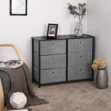 Load image into Gallery viewer, Great songmics 3 tier wide dresser storage unit with 6 easy pull fabric drawers metal frame and wooden tabletop for closet nursery hallway 31 5 x 11 8 x 24 8 inches gray ults23g