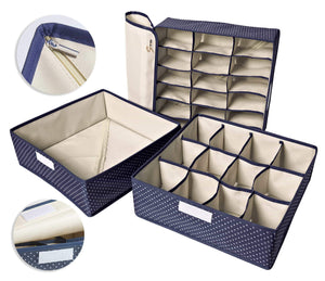 Budget topline goods spark premium set of 3 foldable covered drawer organizer closet organizer for socks bras for women underwear baby clothes belts scarves blue