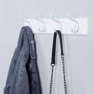Discover songmics wooden wall mount coat rack with 4 metal hooks 16 inch coat hook rail for hallway bathroom closet room white ulhr23wt