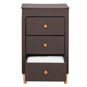 Amazon itidy 3 drawer dresser premium linen fabric nightstand bedside table end table storage drawer chest for nursery closet bedroom and bathroom storage drawer unit no tool requried to assemble brown