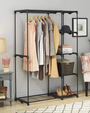 Load image into Gallery viewer, Storage whitmor freestanding portable closet organizer heavy duty black steel frame double rod wardrobe cloths storage with 5 shelves shoe rack for home or office size 45 1 4 x 19 1 4 x 68