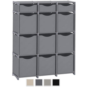 Budget neaterize 12 cube organizer set of storage cubes included diy cubby organizer bins cube shelves ladder storage unit shelf closet organizer for bedroom playroom livingroom office grey