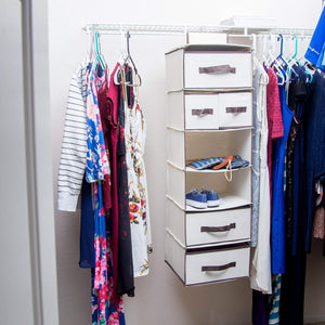 The best lovotex 6 shelf hanging closet organizer with 3 large and 2 small drawers practical wardrobe shelving with durable high capacity design collapsible storage for clothes underwear sock and towels