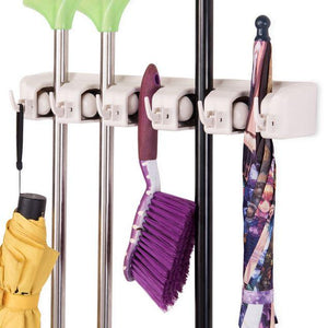 Mop Holder 5 Position Hanger Home Kitchen Storage Broom Organizer Wall Mounted