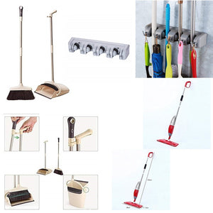 Cleaning Combo- Spray Mop, Broom DustPan Set, 4 Slot Wall Mount Holder With Hooks