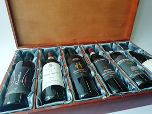 6 BOTTLES ITALIAN FINE WINE IN A WOODEN SILK BOX