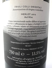 Load image into Gallery viewer, CANUS MERLOT DOC FRIULI COLLI 2012 13.5% 75CL
