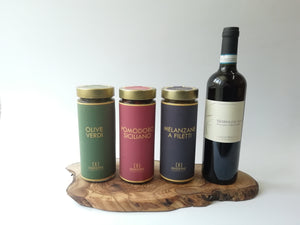 MEDITERRENEAN ANTIPASTO WITH OLIVE WOOD BOARD & WINE