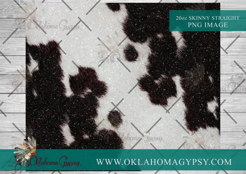 20oz Skinny Straight Black & White Glitter Cowhide Digital File