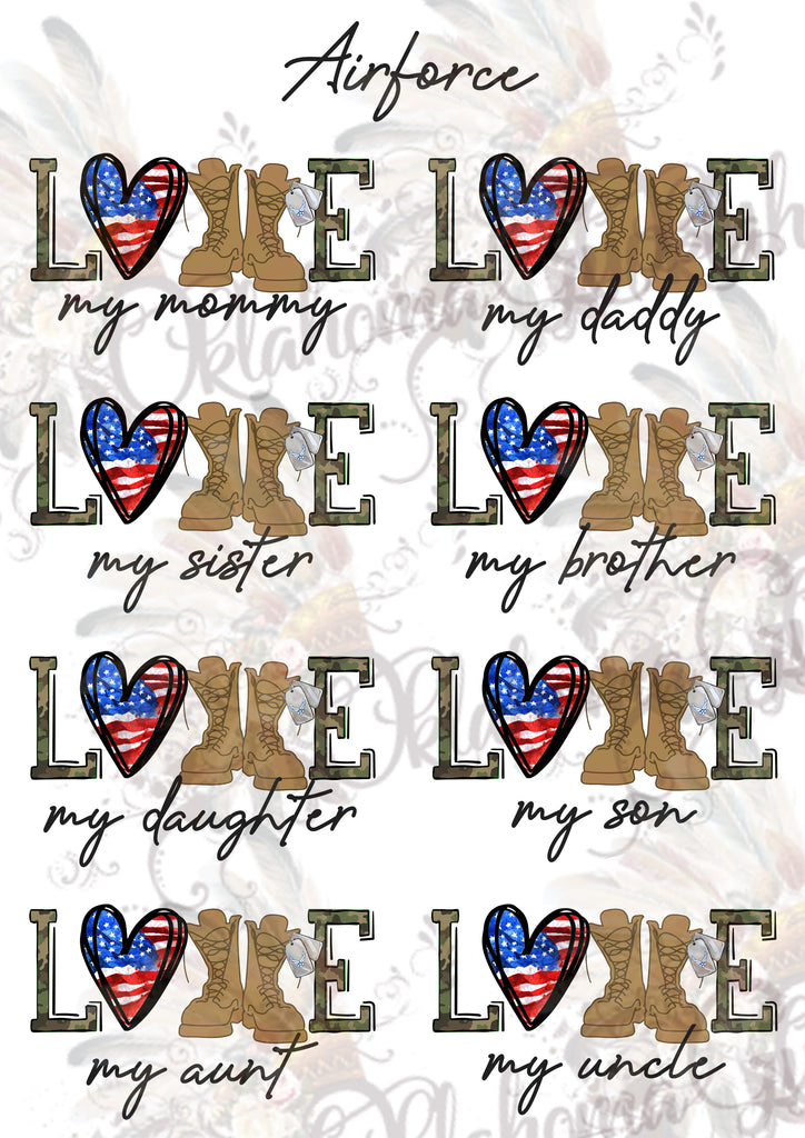 Air Force LOVE Sheet Digital File