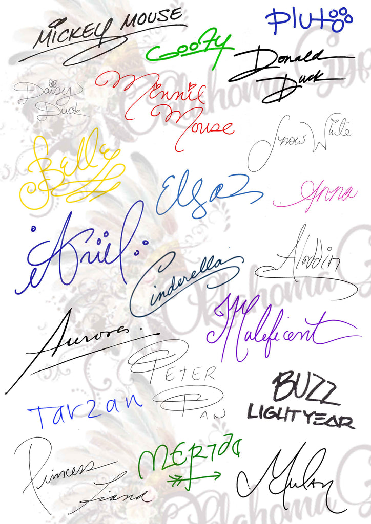 Disney Princess Signatures Digital File