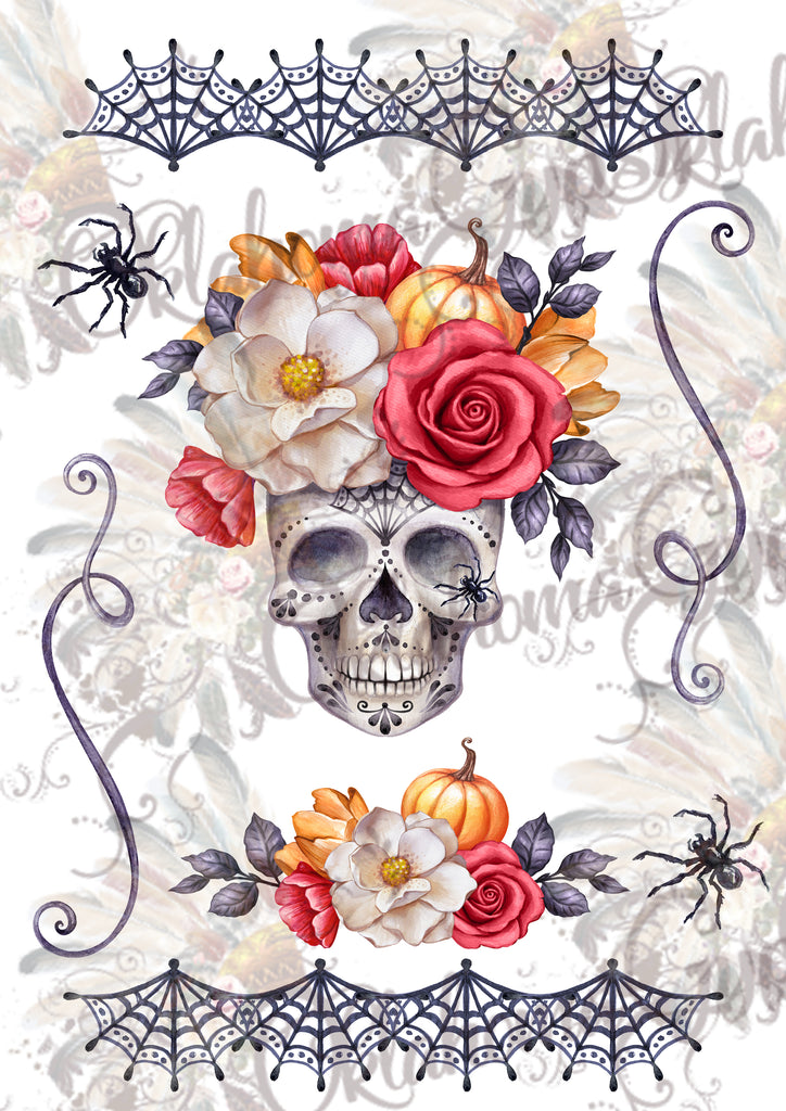 Halloween Skull Floral Digital File