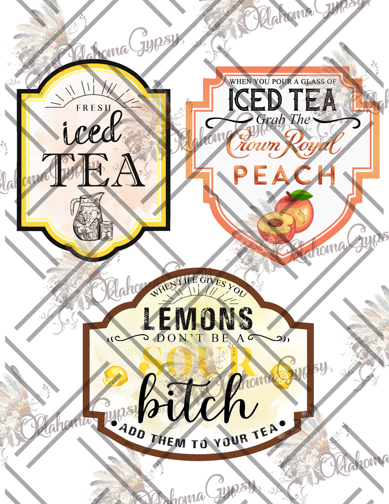 Iced Tea Labels Digital File