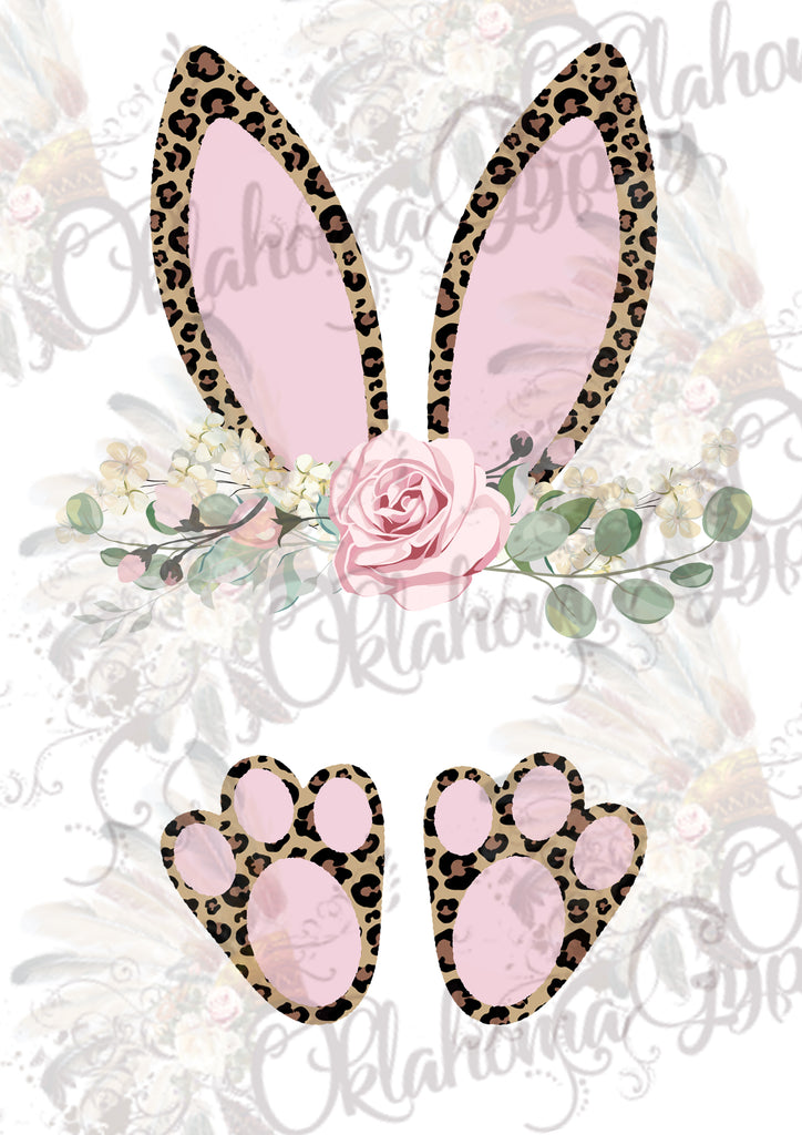 Leopard Bunny Ears & Feet Easter_Custom Name Digital File
